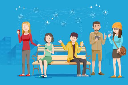 Het gebruik van nieuwe technologieën smart-phone. Communicatie Social Media. Blootstelling aan nieuwe informatie. Stock Illustratie
