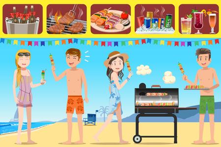 pareja comiendo: Partido de la barbacoa del turismo en la adolescencia y actividades en la playa. Guía ilustrada para las personas que cumplen actividades al aire libre. Vacaciones de verano.