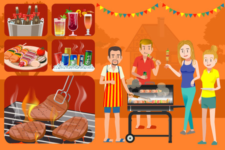 backyard: House backyard. Outdoor picnic. Party barbecue in patio with Friend. Flat style vector. BBQ grill. Illustration