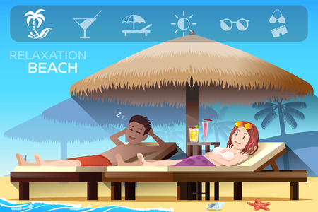 ambiance: Couple tourism and tropical relax style. Ambiance of the beach.Summer holidays. Illustrated books and websites about travel to the seaside.