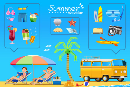 couple in summer: Tourism is a Couple on the beach.Color icons activities Summer holidays.Travel by a car.Illustration for books and websites about travel to the sea. Illustration