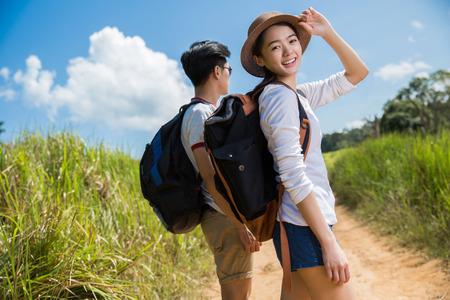 Aziatische toeristen lopen is een wild avontuur.