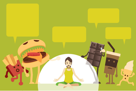 Women are denied a healthy weight, eat high-energy foods. in flat Vector illustration