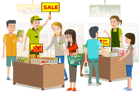 Die Menschen waren mit Abschlägen zu kaufen pflanzliche Produkte. Sommerschlussverkauf. Die Promotions im Supermarkt für den besonderen Tag. Standard-Bild - 66367937