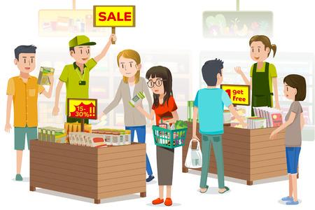 Mensen waren het kopen van scherp geprijsde plantaardige producten. zomer uitverkoop. De Promotions in supermarkt voor de speciale dag.