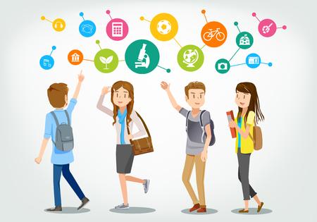 Soñador. Los estudiantes están caminando, hablando y chatting.Learning experience.Targeting en Life.Dare a comment.Exchange conocimientos entre sí. Ilustración de vector