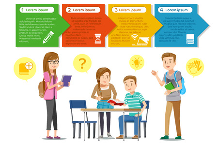 conversations: Student have a Seminar.The reading together in the classroom