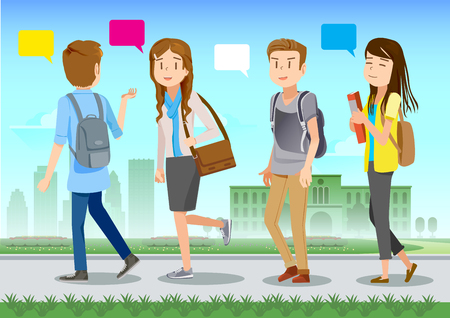 working together: University student are walking, talking and chatting. Exchange knowledge with each other on campus. Illustration