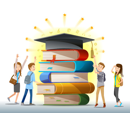 Valor de la graduación. La conquista de la educación. conocimiento mayor. Los estudiantes que tratan de graduarse. Una buena experiencia académica. Ilustración de vector