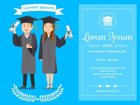 jovenes estudiantes: mensajes de felicitación para los graduados concepto. Cartel de la educación. El éxito de los estudiantes. Vectores