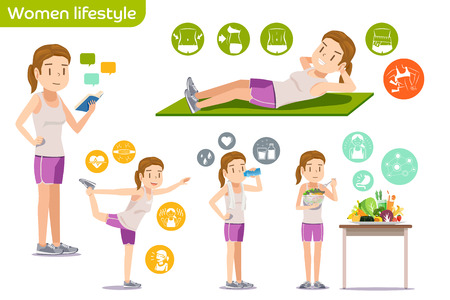 health and fitness: Health of young people. Study guide exercises by yourself. Illustrations basic lifestyle with icons. Home fitness. Illustration