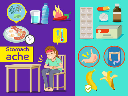 prophylaxis: Problems of stomach ache caused by various reasons. Basic Prophylaxis. Medicine for person. Banana is fruit prevent diarrhea.
