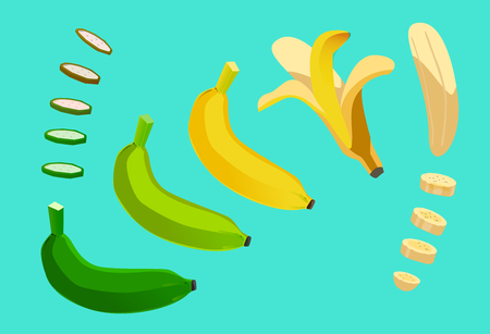 Element cycle of banana. slice put it tidy. Peel fruit. Beautifully curved. Upbeat on the placing object.