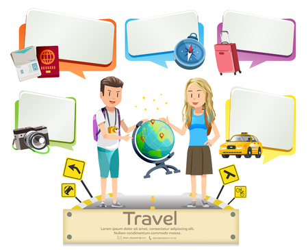 Tourists Plan For Travel In Foreign Country Simple Graphic