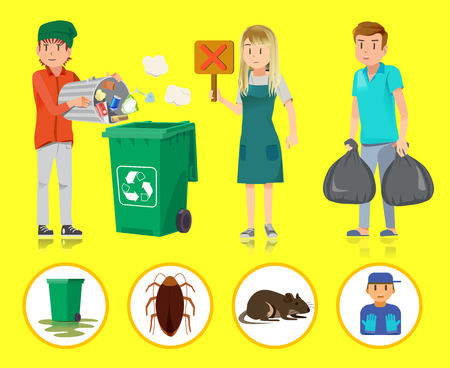 littering: Segregated waste. The problem of not classified garbage.recycling incorrect in city. Difficulties maintaining public assets.