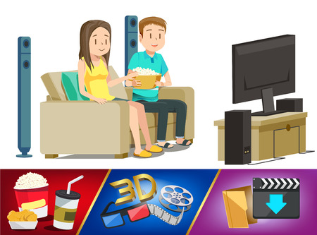 entertainment: Basic home entertainment element. Couple watching movie in house. Weekend with family. Download from internet and play by modern television.