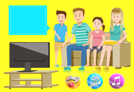 televisions: Family watching television together in house. Basic Entertainment character and full-color icon for living room. Illustration