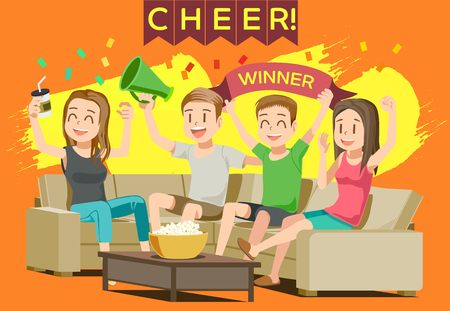 recreation rooms: Cheer sport in home. Party with friend or family. People excited While Watching television.