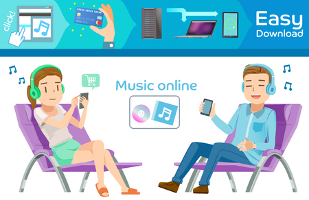 modern lifestyle: Buy music online in internet. Graphic step for order. people relax on home. Modern lifestyle and smartphone. Transactions through the technology.