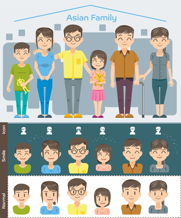 asian happy family: Basic Set Cartoon Full and half-length character Asian Family happy smile concept . Good relationship in home. Illustration