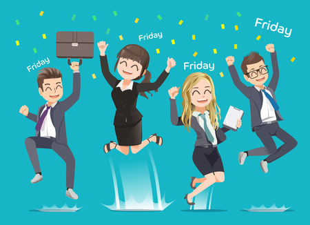 career job: Office man and woman happy when weekend arrive. Party with friend. Work completed.Back to home. Illustration