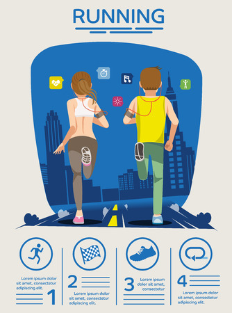 basic care: Poster running challenge festival. Basic icon. Couple healthy care. Easy exercise. City sport in dawn. Info-graphic flat style. Illustration