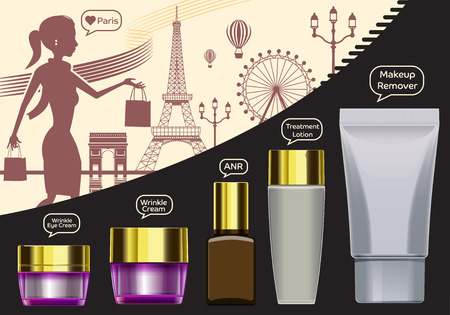 basic care: Women shopping beauty products.Describe Of luxury in Paris.Cream and goods imported from abroad. Basic face care set.