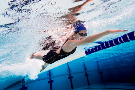 Woman swimming pool.Underwater photo Stock fotó - 81215511