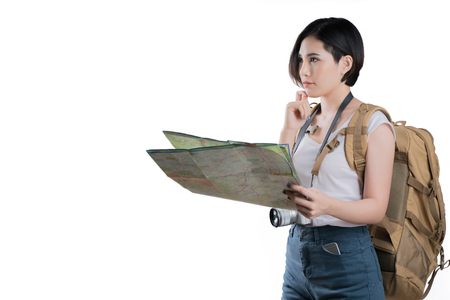Asian woman she are viewing the map she was planning and thinking.studio white background