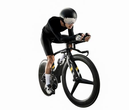 """아시아 남성은 아침에 """"타임 트라이얼 자전거""""를 자전거 타기 중입니다. 스톡 콘텐츠"""