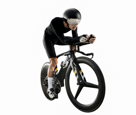 Asian men are cycling time trial bike in the morning