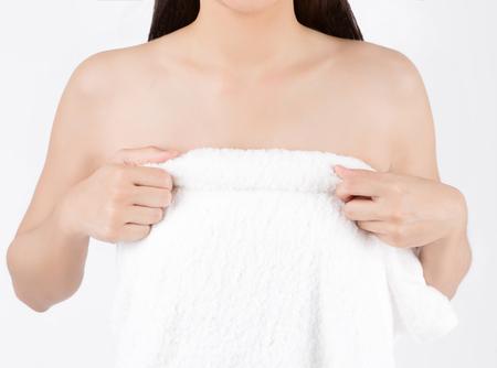 그녀는 가슴이 작은 아시아 여성 흉상 스톡 콘텐츠 - 97731066