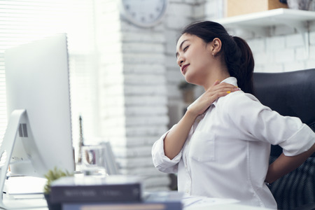Asian women Aches from working She felt like relaxing