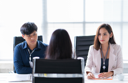 female applicant in a job interview