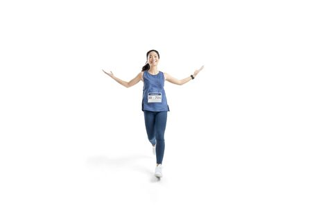 Asian women marathon Studio white background. She was pretending to be glad 版權商用圖片