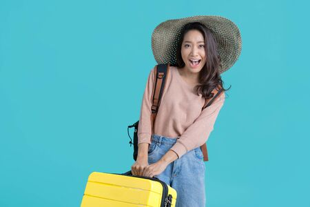 Asian women tourists she is excited to travel.