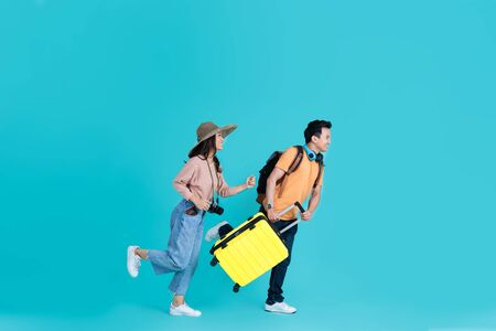 Asian tourist couple They are excited go to travel