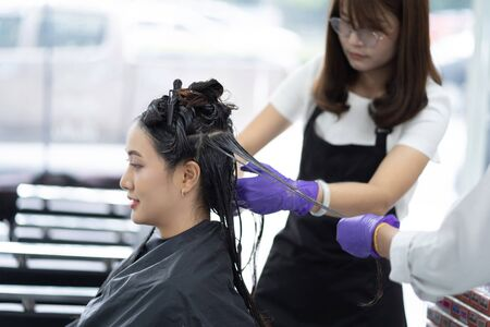 Asian hairstylist dyeing hair and doing hair for customer