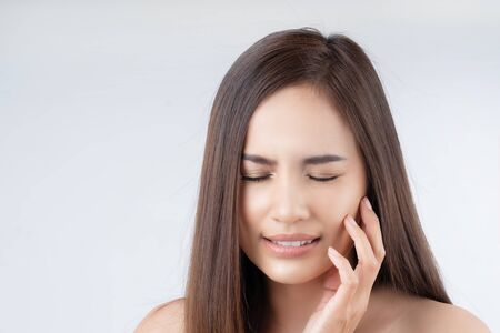 Asian woman is having a toothache Banque d'images