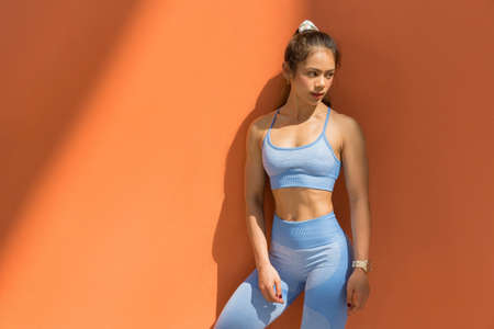Asian woman healthy she exercised She has a body at the outdoor perfect
