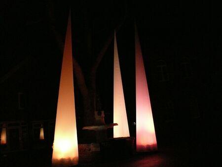 acute: Orange acute cone at night