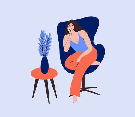 Vector illustration girl sitting and resting on the armchair