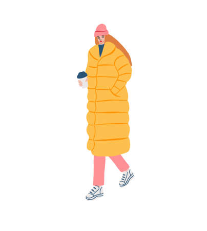 Young girl in fashionable warm clothes walking and enjoying coffee Stock Illustratie