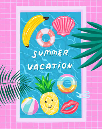 Swimming pool with inflatable colored toys. Pool party summer invitation poster concept with retro style vector illustration and creative typography. Vector illustration