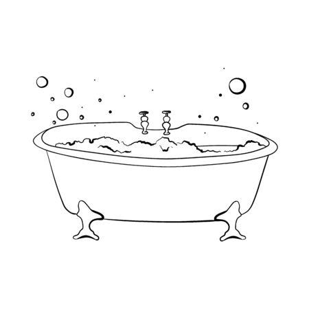 Vasca da bagno con bolle di schiuma. Schizzo. Disegnato a mano. isolato su bianco.