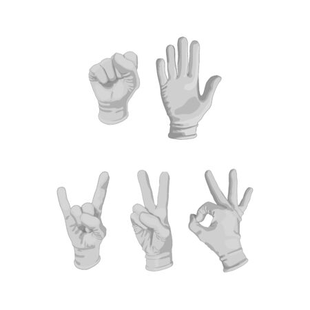 Set of different gloves. isolated on white background. The hand show Okay, peace.