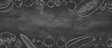 hand drawing.copy space. seamless pattern with fruits and vegetables. banana lemon grapes peach Strawberry  cherry Garnet papaya raspberry corn garlic  mushroom