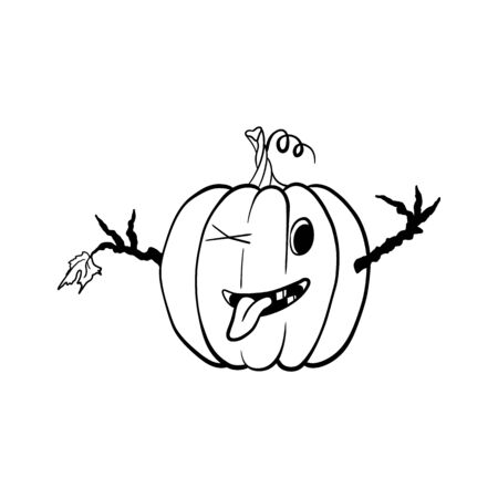 funny pumpkin shows tongue. hand drawn. isolated on white.