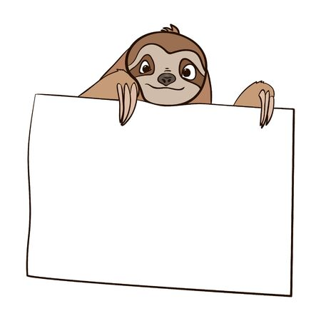 sloth holds a card. copy space. hand drawn isolated on a white background.