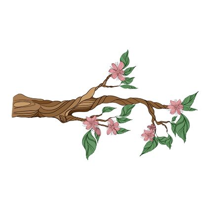 one stylized tree branch with leaves and flowers. isolated on a white background. Hand drawing sketch.
